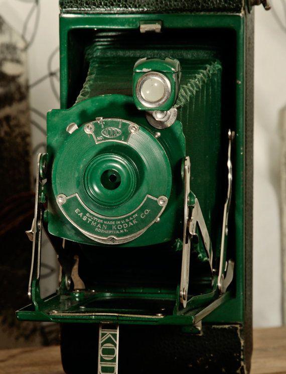 Antique Camera Vintage Photography Kodak No. 1 Pocket Junior Green 1930's