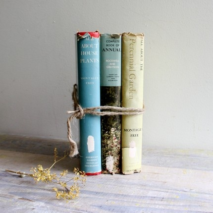 love the twine tying 3 old gardening books, flower and shell