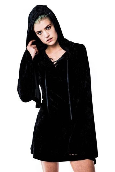 Velvet Witch Hood Dress [B]