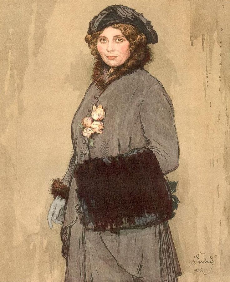 "Max Švabinský: ""Mrs. AV in Winterkostum"". Colored pen drawing 1915"