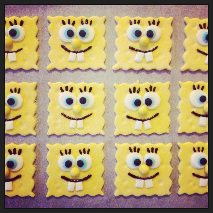 Homemade spongebob for birthday cupcakes
