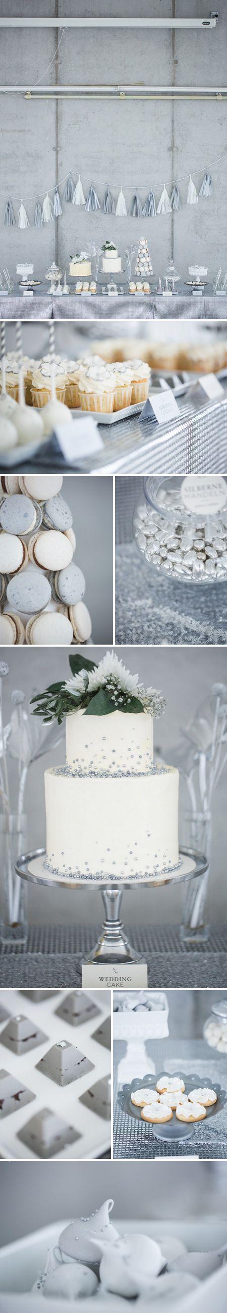 #CandyBuffet {Gamour in Silber &Weiß}  zur #Hochzeit, zu #Weihnachten, im #Winter