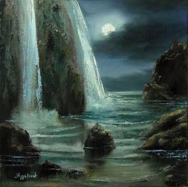 "Saatchi Art Artist ΑγγελικΗ  Aggeliki; Painting, ""Fullmoon"" #art Size: 40 H x 40 W x 1.5 cm"