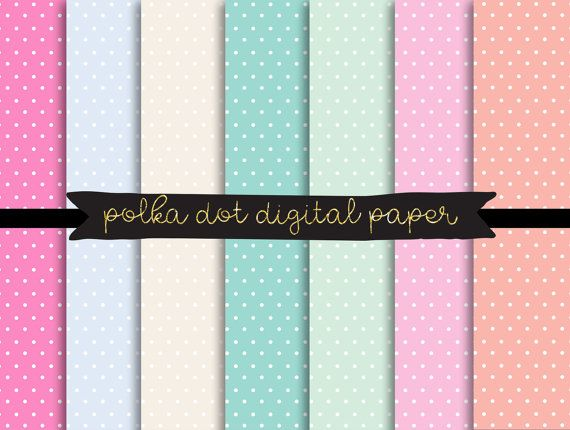 polka dot digital paper, pastel polkadot texture, Commercial Digital Paper, Digital Download, Printable Scrapbook Paper, Pastel Polka Dots