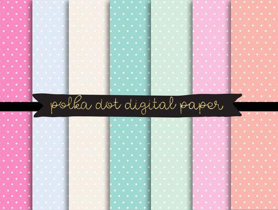 polka dot digital paper, pastel polkadot texture, Commercial Digital Paper, Digital Download, Printable Scrapbook Paper, Pastel Polka Dots
