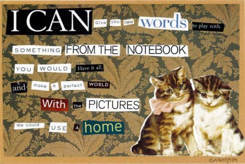 194/365: I can give you new words to play with, collage on paper, A5.