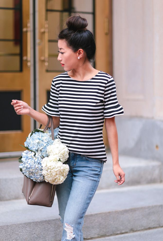 jcrew striped ruffle tee outfit_extra petite