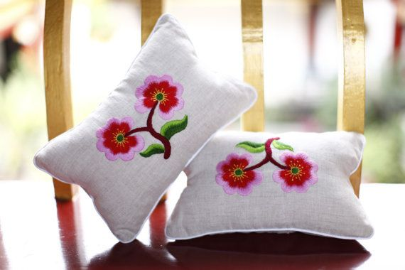 Tibetan & Qiang Embroidery Car Neck Pillow pair by GreatSeed, $60.00