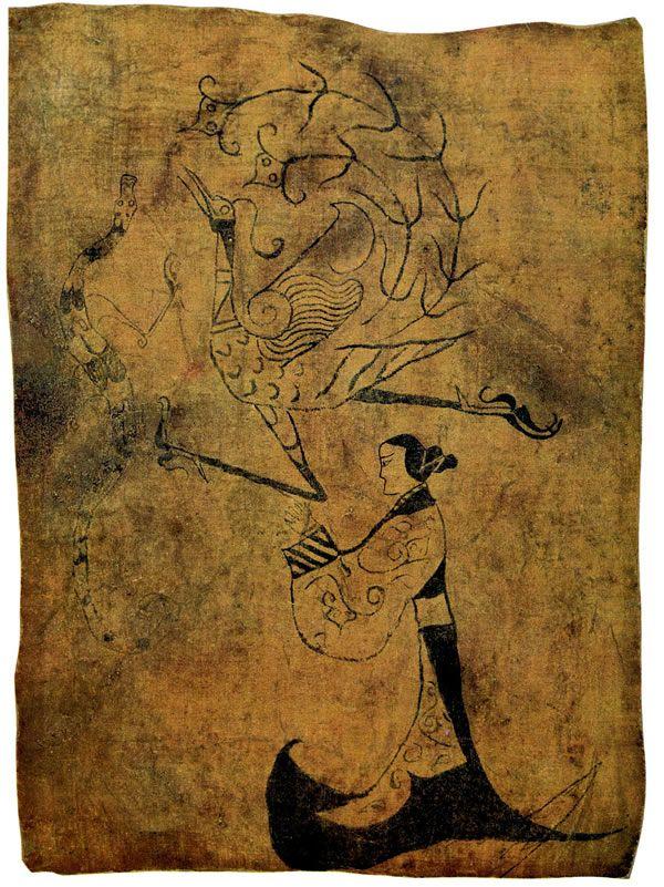 戰國 《龍鳳仕女錦畫》