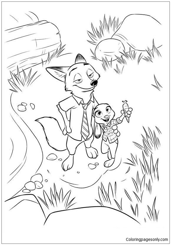 Nick And Judy Zootopia Coloring Page Dibujos Paginas Para