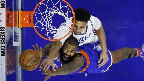 #NBA    Philadelphia 76ers' Jahlil Okafor, top, and New York Knicks' Kyle O'Quinn leap for a rebound during the second half of an NBA basketball game, Friday, March 3, 2017, in Philadelphia. (AP Photo/Matt Slocum)