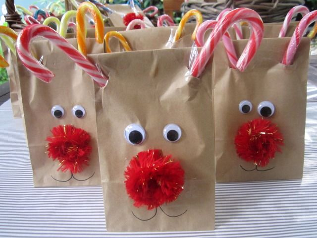 These work well to hold the other crafts/treats during the party. Give them pens to decorate in addition to gluing the eyes/nose.