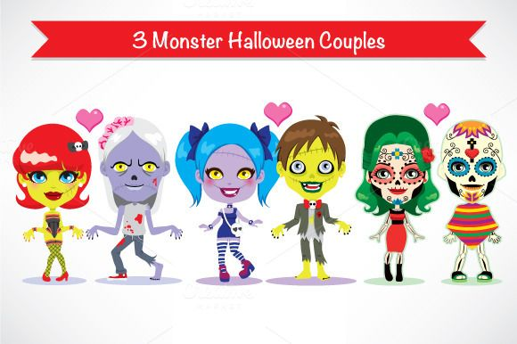 Check out Monster Halloween Couple Characters by Kakigori Studio on Creative Market
