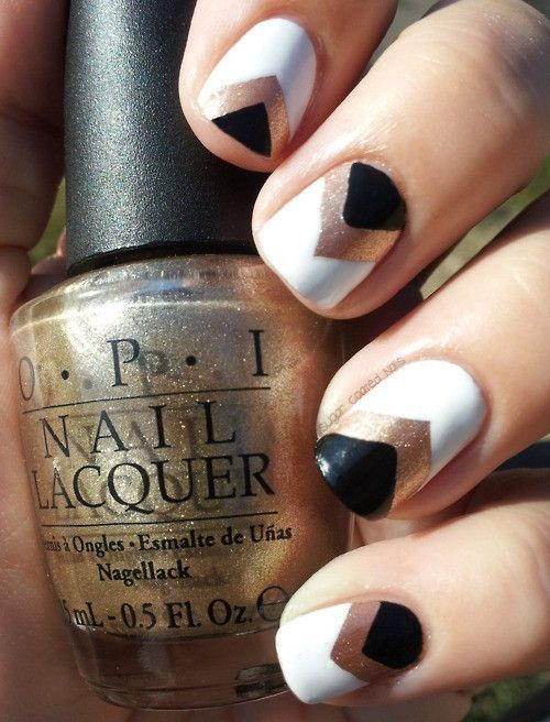 black gold and white nails. I love!