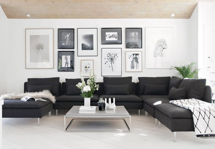 Picture wall, black and white interior, Stylizimo home