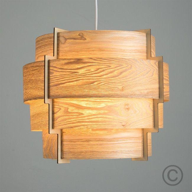 Retro Tiered Drum Pendant Shade in Wood Veneer Finish - Light on