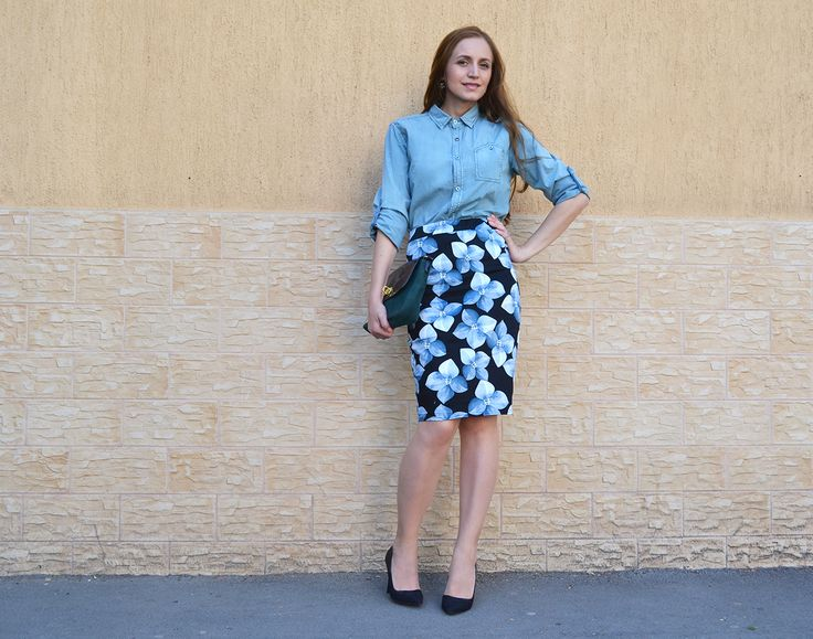 denim street style, mix and match outfit #denimstreetstyle #floralpencilskirt #mixandmatchfashion #denimtrend