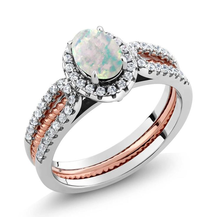 GemStoneKing 925 Sterling Silver Artwork Deco Engagement Rings For Ladies 1.25 Ct Oval Simulated Opal Wedding ceremony Band Insert Ring - Silver Jewellery 925 - SHOP NOW
