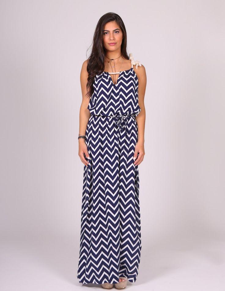 Φόρεμα μακρύ με μπλε και λευκό ζικ-ζακ | Mindyourstyle.gr