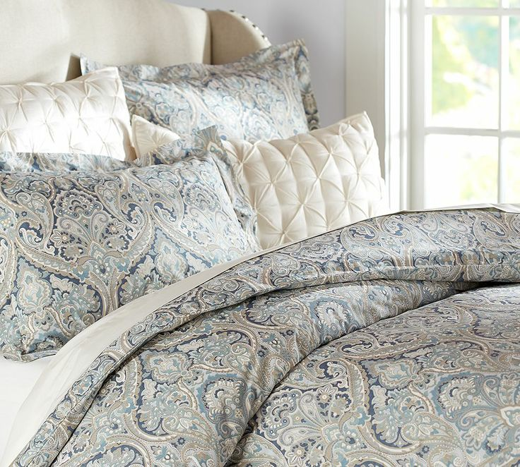Pottery Barn Mackenna Paisley Duvet Cover Blue Natural