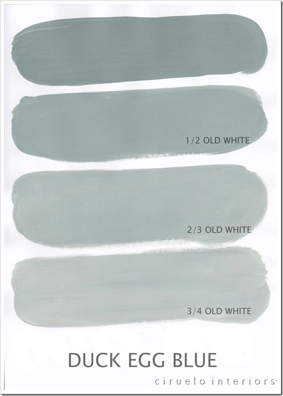 Varying tints possible with Chalk Paint® decorative paint by Annie Sloan. A combination of Duck Egg Blue & Old White by Ciruelo Interiors.