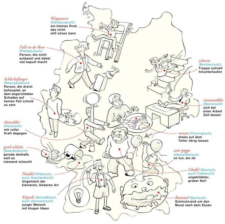 Deutschlandkarte: unübersetzbare Dialekte