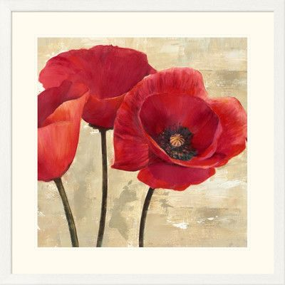 """Global Gallery 'Red Poppies II' by Cynthia Ann Framed Painting Print Size: 32"""" H x 32"""" W x 1.5"""" D"""