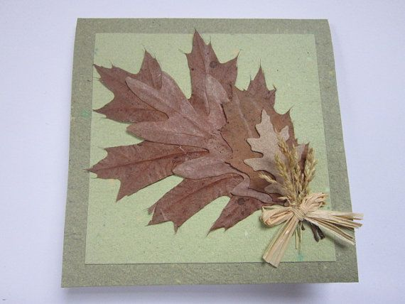 159 best handmade paper greeting cards images on pinterest items similar to handmade paper oak card thank you card recycled paper card blank card oak leaves card on etsy m4hsunfo