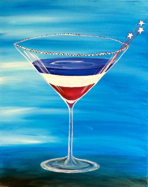 $25 Wind Down Wednesday -Red, White and Blue Martini