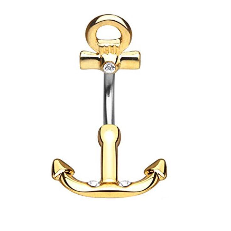 BodyJ4You® Nautical Anchor Belly Button Ring Non Dangle Goldtone