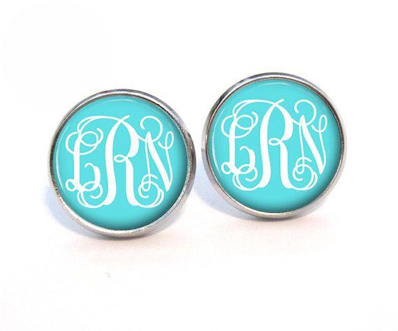 Monogram Stud Earrings Tiffany Blue 8 95 2 85 S H