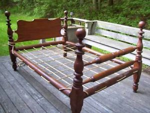 1800's antique cannonball rope bed | Antique furniture, Bedrooms and  Colonial furniture