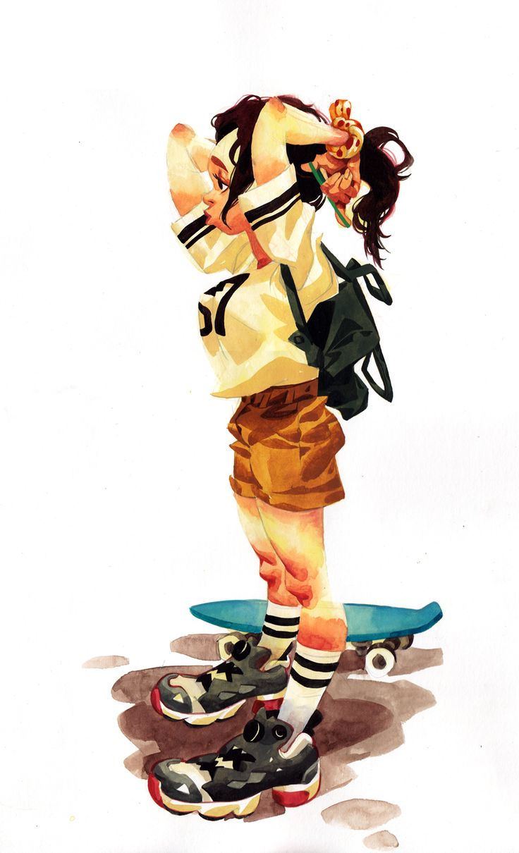 Skateboarder, KangMinjung, watercolor painting, character design www.facebook.com/naphe4