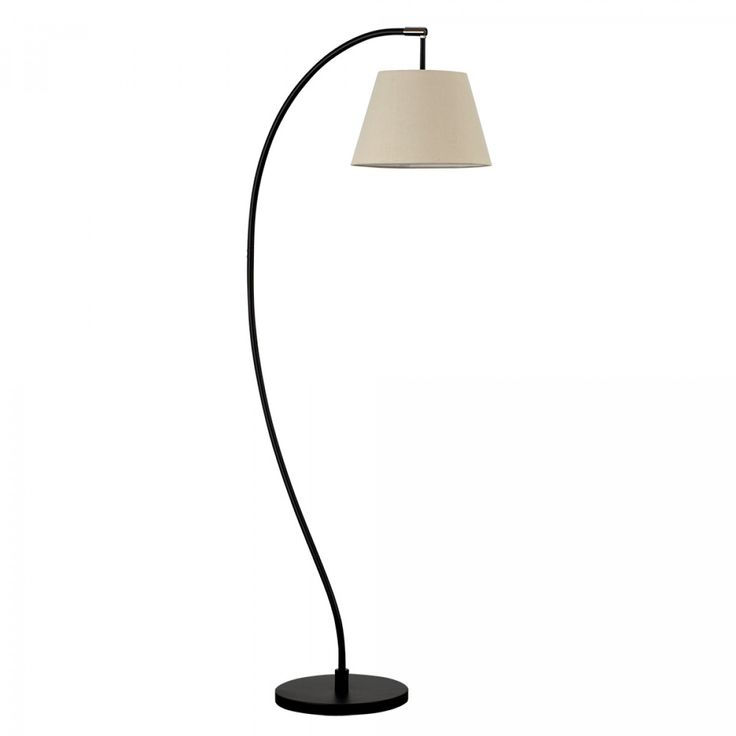 Archer Black Floor Lamp With Beige Tapered Shade