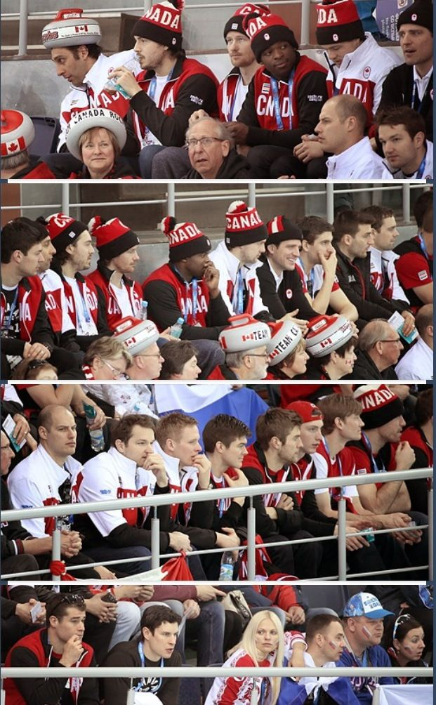 canadian men's hockey team watch canadian men's curling team play against great britain