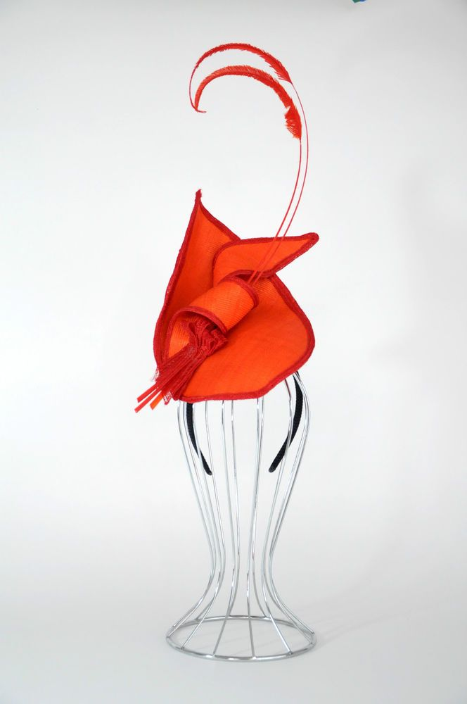 NWT  May Roberts  Orange Headpiece With Feathers & Braid -Spring Racing Wedding