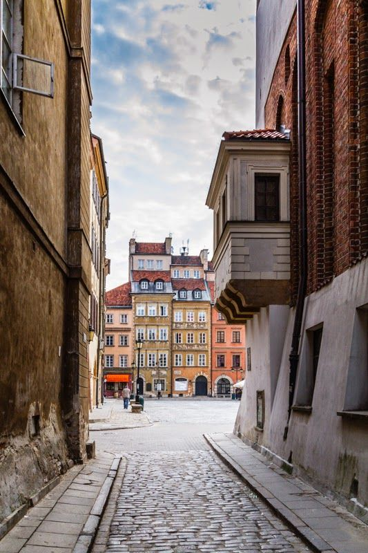View from the Waski Dunaj (Narrow Danube) street towards the Old Town Square in Warsaw, Poland. Photo taken @ very early morning.