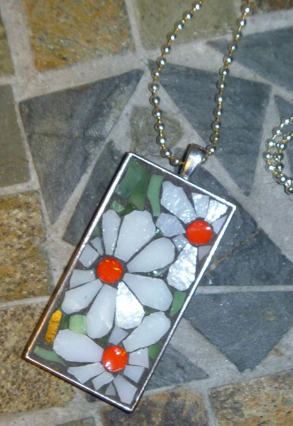 Mosaic flowers white and orange pendant by DarlenePayton on Etsy, $20.00