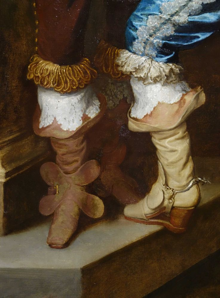 The details of art: High heels for men where mainly functional because the streets were so dirty - they avoided filthy shoes with heels. The young Lord Bernard Stuart that Anthony van Dyck portrayed, takes this functionality one step further with a sophisticated 'slap sole' drawn over his boot, that also protected the precious leather nose of the foot.