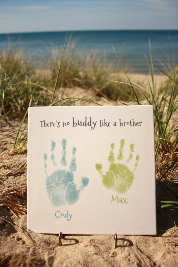 FOREVER PRINTS, Handprint CERAMIC Keepsake Plaque. There's no buddy like a brother. Kiln fired to last forever! on Etsy, $45.00