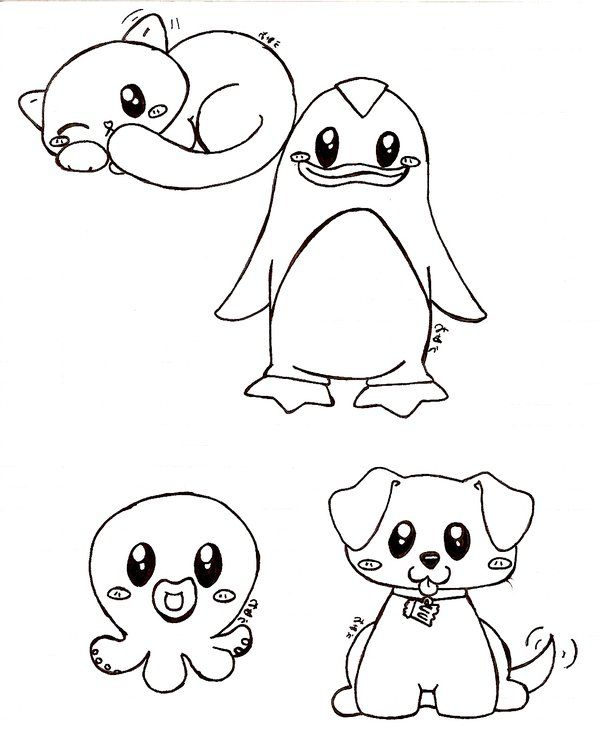 Anime Animal Drawings Easy | really cute animals by bakaUO ...