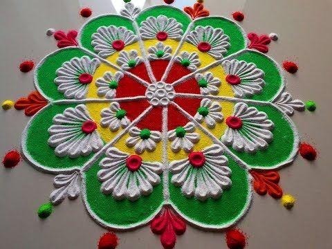 Easy rangoli and colourful rangoli design by DEEPIKA PANT - YouTube