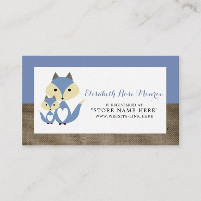 Blue Fox Burlap Baby Shower Gift Registry Enclosure Card Zazzle