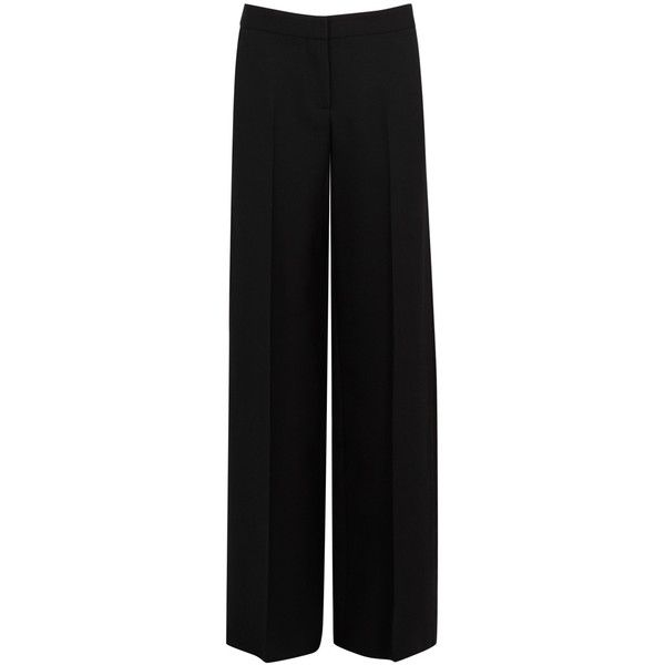 Alexander McQueen Black Wide-leg Wool Blend Tuxedo Trousers - Size 10 (€1.215) ❤ liked on Polyvore featuring pants, tuxedo trousers, wool blend pants, wide leg trousers, tux pants and wide leg pants