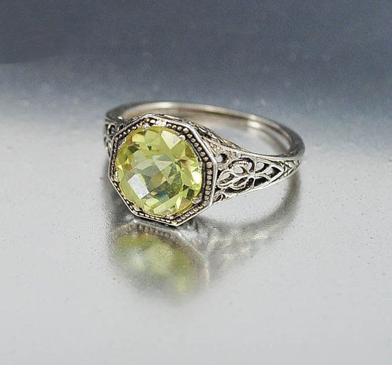 vintage sterling silver filigree peridot ring size 55