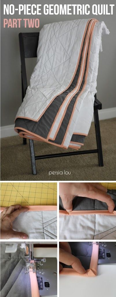 Make your own geometric quilt - no piecing required! The quilt gets its design and texture from the stitching!