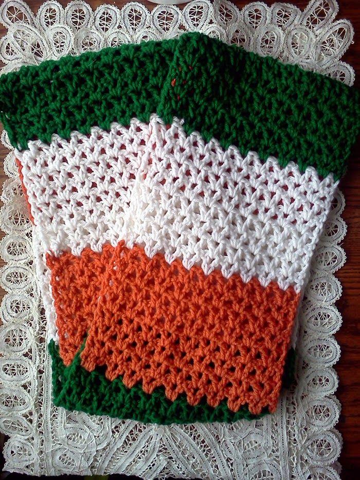 Cannycraftz Irish Flag Infinity Scarf Free Crochet