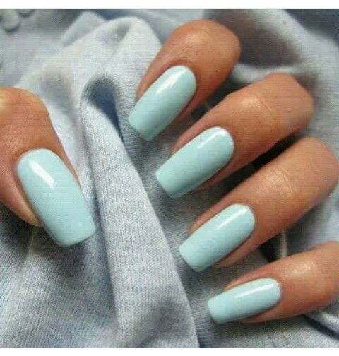 Simple baby blue acrylic nails