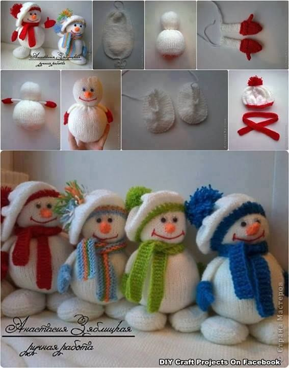 cute DIY snowmen ~you could make these using old sweaters. The basics are would be the same.