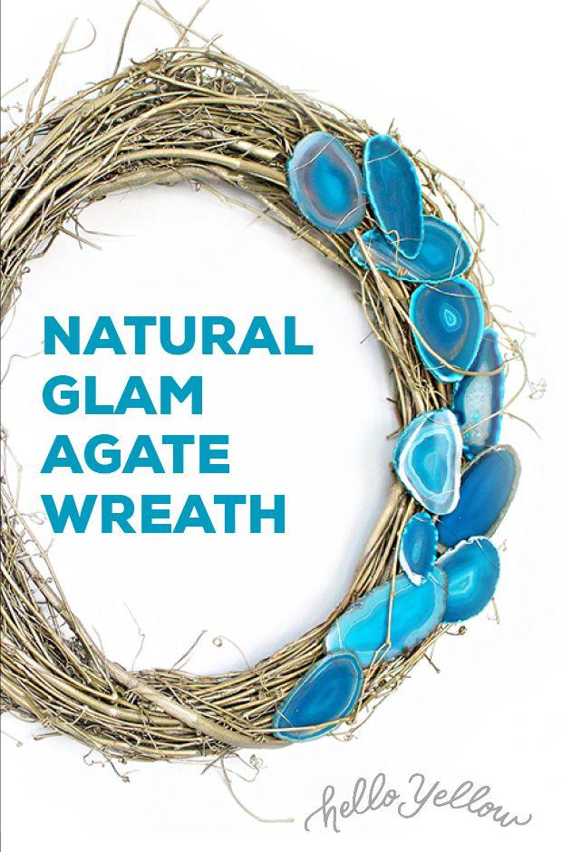 DIY Wreath Ideas: Natural Glam Agate Wreath #LeonsHelloHoliday